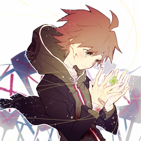 1boy ahoge bandage bandaged_arm bandaged_hand bandaged_neck bandages black_jacket blood brown_hair closed_mouth clover commentary_request danganronpa danganronpa_1 eyebrows_visible_through_hair flower four-leaf_clover green_hoodie hood hoodie injury jacket jacket_lift long_sleeves looking_down male_focus mayer naegi_makoto partial_commentary short_hair solo upper_body