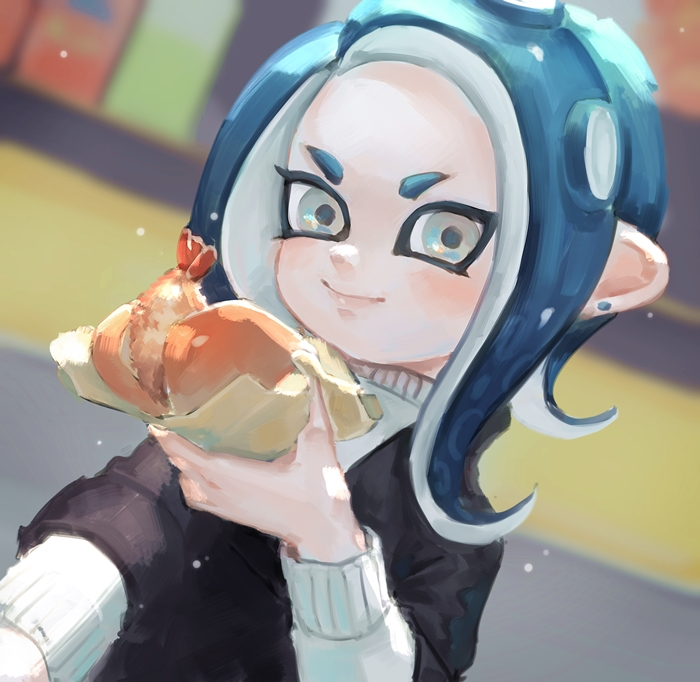 1girl act_(a_moso) blue_hair blurry blurry_background closed_mouth dutch_angle earrings food grey_eyes hand_up holding holding_food jewelry long_hair long_sleeves octarian octoling smile solo splatoon splatoon_(series) splatoon_2 suction_cups tempura tentacle_hair upper_body