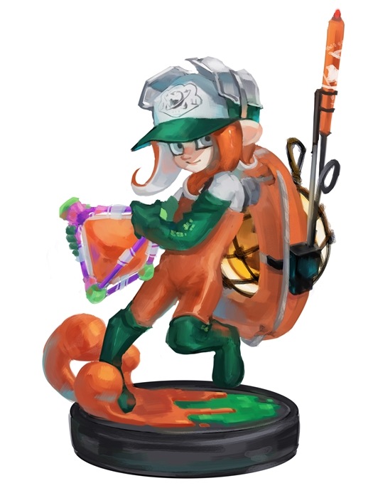 1girl act_(a_moso) baseball_cap boots closed_mouth full_body gloves green_footwear green_gloves grey_eyes hat holding leg_up lifebuoy looking_at_viewer medium_hair octarian octoling orange_hair overalls paint rubber_boots rubber_gloves salmon_run simple_background smile solo splat_bomb_(splatoon) splatoon splatoon_(series) splatoon_2 standing standing_on_one_leg tentacle_hair