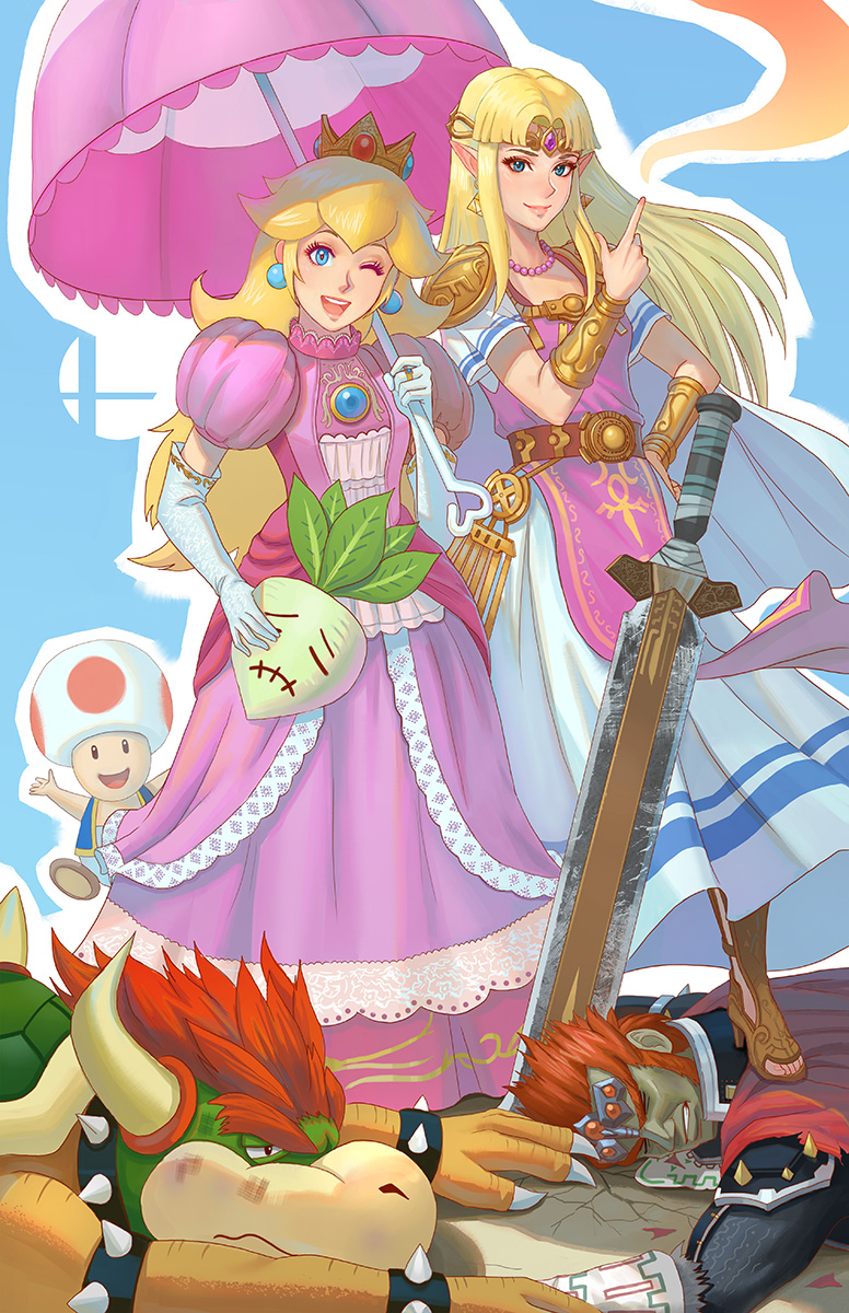 2girls 3boys bead_necklace beads belt blonde_hair blue_background blue_hair bowser bracelet bracer bruise bruise_on_face cape choker circlet claws crown dark_skin dark_skinned_male defeat dirty dress elbow_pads ganondorf gloves hand_on_hip high_heels highres horns index_finger_raised injury jewelry long_hair looking_at_viewer mario_(series) mini_crown multiple_boys multiple_girls necklace nintendo one_eye_closed open_mouth pink_dress planted_sword planted_weapon pointy_ears princess princess_peach princess_zelda puffy_short_sleeves puffy_sleeves redhead ring short_sleeves shoulder_spikes smile spiked_armlet spiked_bracelet spiked_choker spiked_shell spikes standing stepped_on super_mario_bros. super_princess_peach super_smash_bros. super_smash_bros._ultimate sword the_legend_of_zelda the_legend_of_zelda:_ocarina_of_time toad toeless_legwear turnip umbrella weapon white_gloves x_x yagaminoue