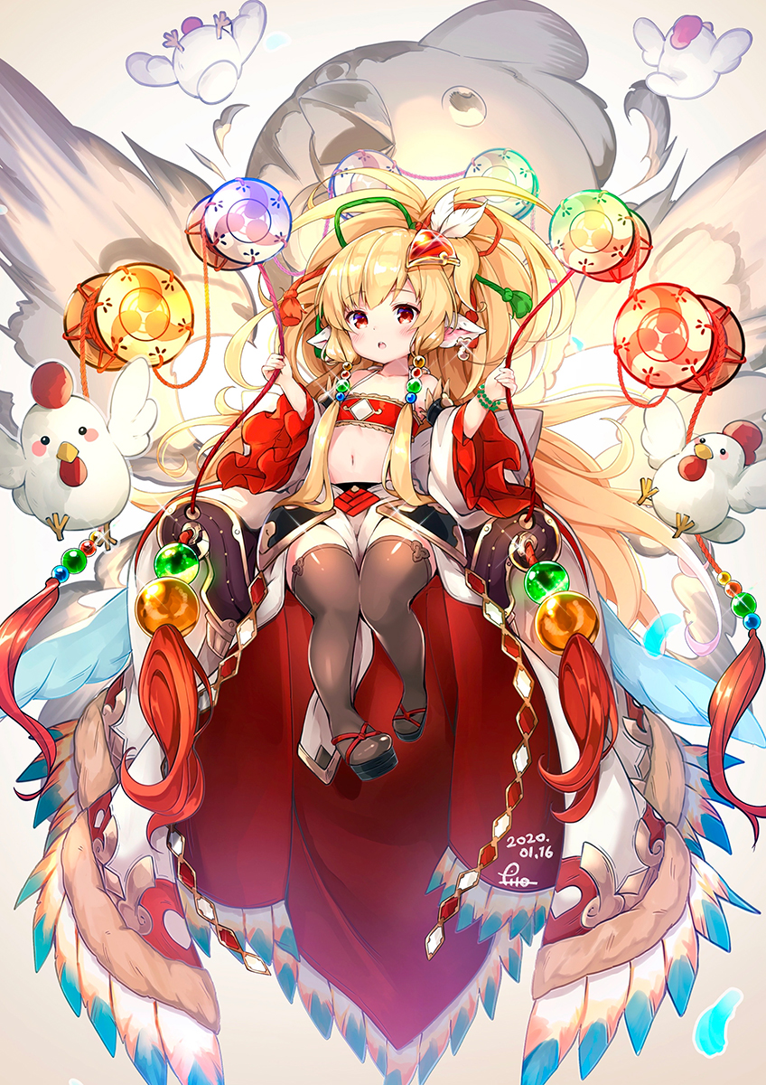 1girl animal animal_ears bandeau bare_shoulders beads bird black_footwear blonde_hair brown_legwear chicken collarbone commentary_request dated detached_sleeves ear_piercing feathers glint glowing granblue_fantasy hair_beads hair_feathers hair_ornament harvin high_ponytail highres holding long_hair long_sleeves mahira_(granblue_fantasy) navel open_mouth pelvic_curtain piercing pilokey ponytail red_bandeau signature solo thigh-highs very_long_hair white_feathers white_sleeves wide_sleeves