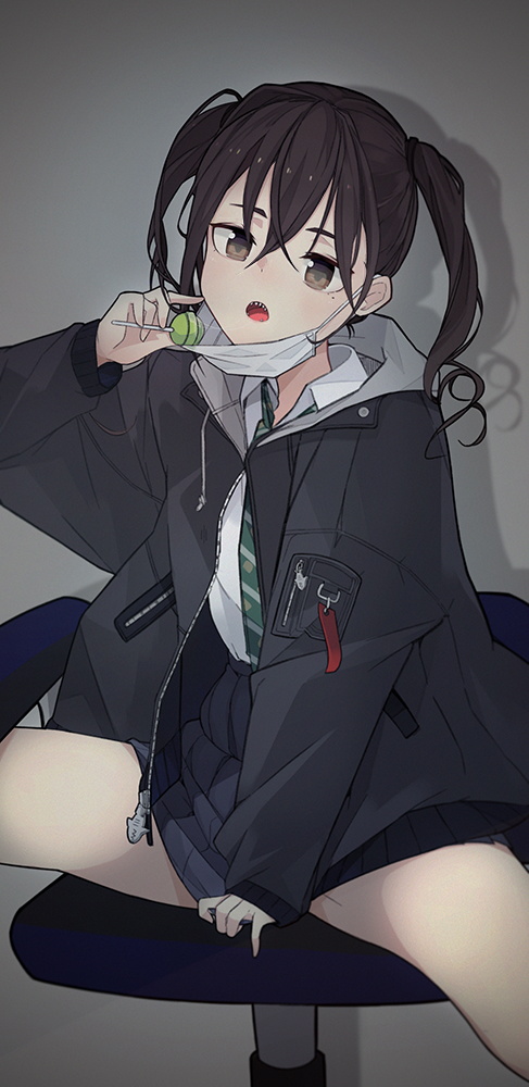 1girl :o abae arm_up bangs black_jacket black_skirt blush brown_eyes chair collared_shirt commentary hair_between_eyes head_tilt idolmaster idolmaster_cinderella_girls jacket long_hair long_sleeves looking_at_viewer mask_pull mole mole_under_eye necktie on_chair open_clothes open_jacket open_mouth pointing pointing_at_self saliva saliva_trail shadow sharp_teeth shirt sitting skirt solo spread_legs striped striped_neckwear sunazuka_akira surgical_mask teeth thighs twintails unzipped white_shirt zipper_pull_tab