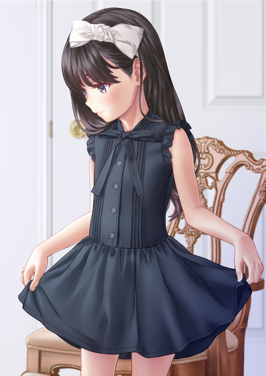 1girl aoi_kumiko bangs bare_shoulders black_dress black_eyes black_hair blush bow chair child closed_mouth commentary_request dress eyebrows_visible_through_hair hair_bow highres indoors long_hair looking_down original revision skirt_hold sleeveless sleeveless_dress smile solo standing white_bow