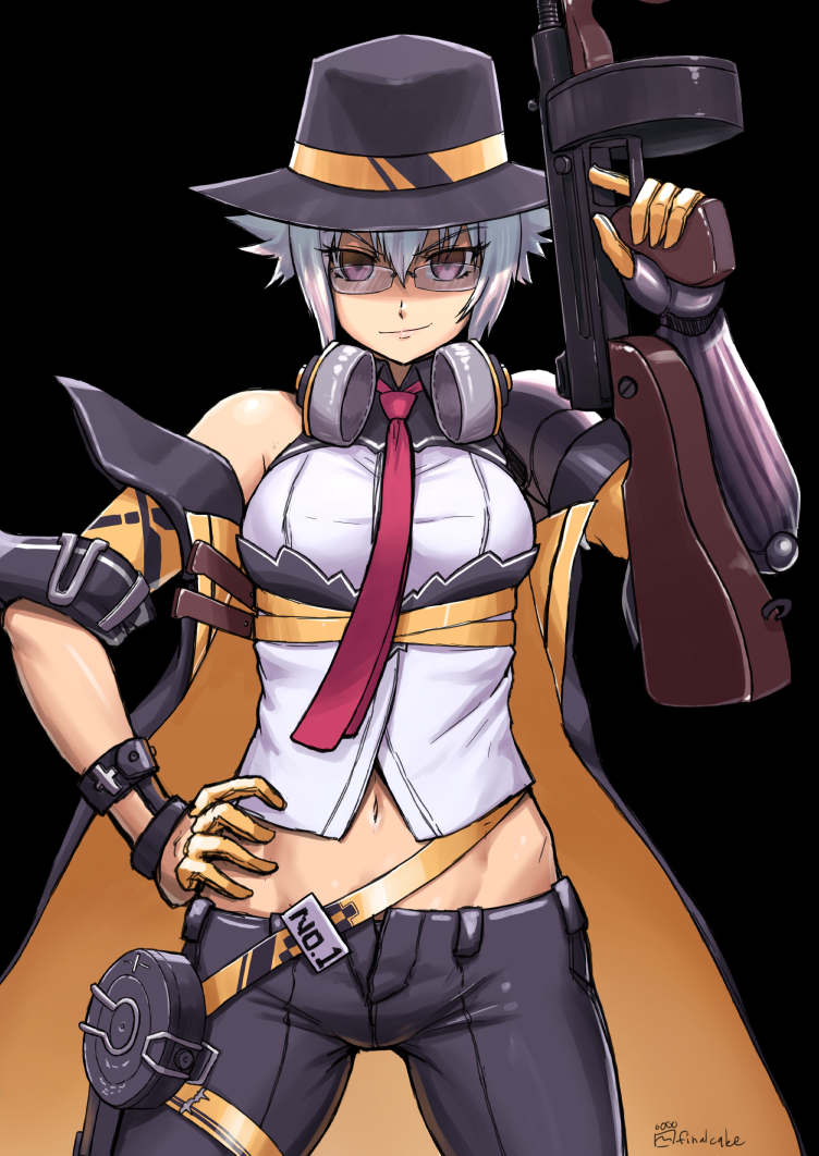 1girl black_background black_hat blue_hair closed_mouth commentary_request cosplay dana_zane eyebrows_visible_through_hair finalcake girls_frontline glasses gun hair_between_eyes hand_on_hip hat headphones headphones_around_neck looking_at_viewer midriff navel rimless_eyewear shirt short_hair signature smile solo submachine_gun thompson_submachine_gun thompson_submachine_gun_(girls_frontline) thompson_submachine_gun_(girls_frontline)_(cosplay) v-shaped_eyebrows va-11_hall-a violet_eyes weapon white_shirt