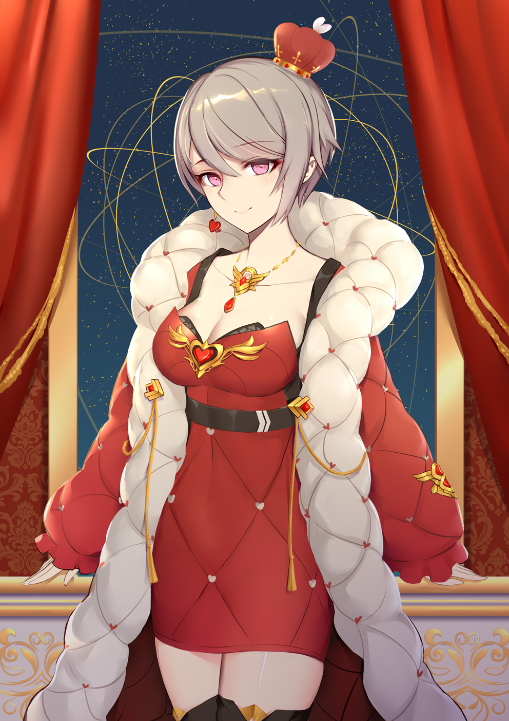 1girl alternate_costume bangs belt black_bra boots bra breasts cleavage closed_mouth coat collarbone crown curtains dress gloves highres honkai_(series) honkai_impact_3 indoors jewelry leaning liu_lan looking_at_viewer necklace open_clothes open_coat red_dress rita_rossweisse short_hair sidelocks smile solo thigh-highs thigh_boots underwear violet_eyes window