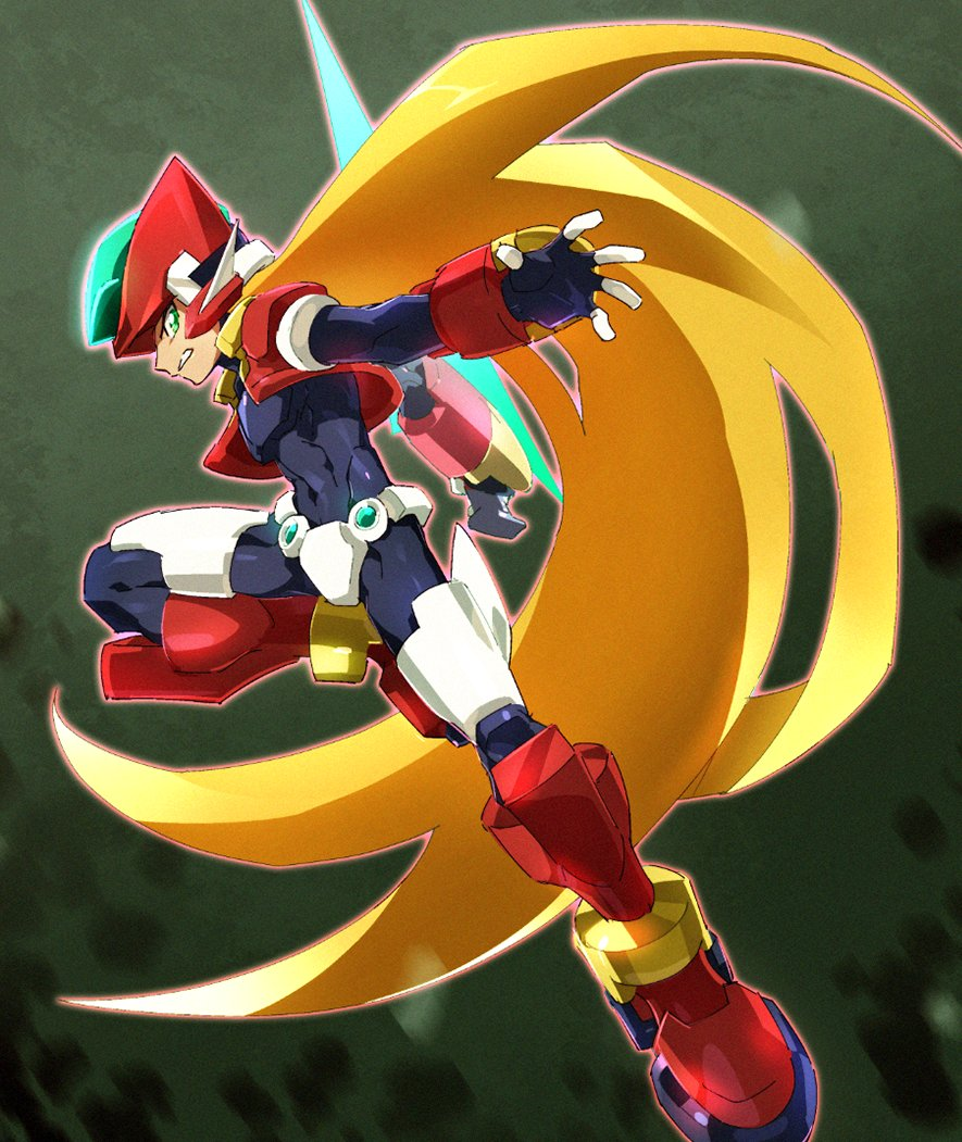 armor blonde_hair bodysuit commentary_request covered_navel energy_blade energy_sword green_eyes helmet holding holding_weapon jumping kon_(kin219) leg_up long_hair model_zx power_armor rockman rockman_zx serious simple_background solo sword very_long_hair weapon