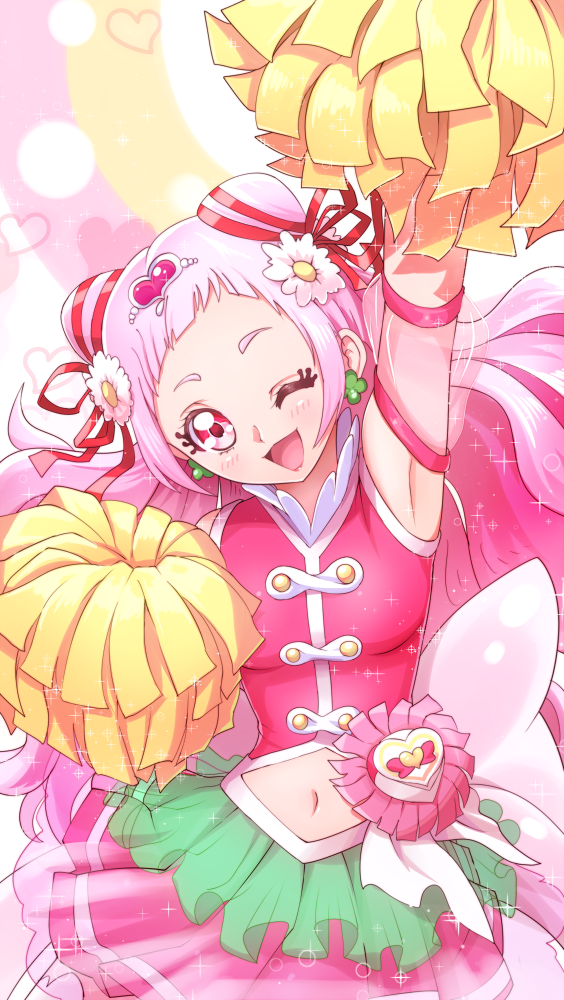 1girl ;d arm_up blush commentary_request cure_yell double_bun earrings flower green_earrings hair_flower hair_ornament hair_ribbon hawe_king hugtto!_precure jewelry long_hair looking_at_viewer magical_girl navel nono_hana one_eye_closed open_mouth pink_eyes pink_hair pink_skirt pom_poms precure red_ribbon ribbon skirt smile solo