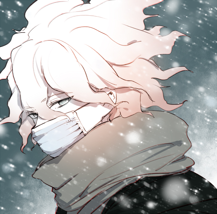 1boy black_jacket commentary_request covered_mouth danganronpa danganronpa_3 eyebrows_visible_through_hair face face_mask from_side green_eyes grey_scarf hair_between_eyes half-closed_eyes jacket komaeda_nagito looking_to_the_side male_focus mask messy_hair scarf shell_(shell518) short_hair snow solo super_danganronpa_2 white_face_mask white_hair