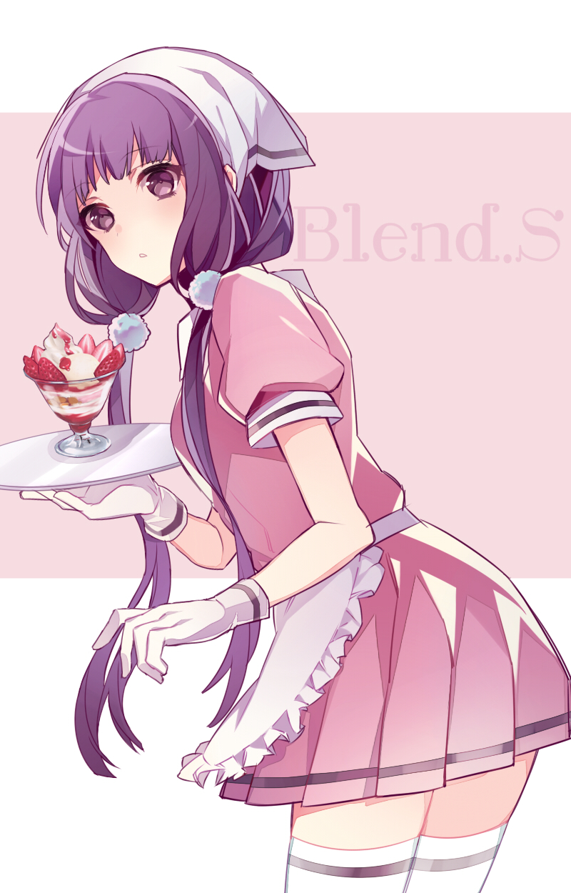 1girl apron blend_s copyright_name cowboy_shot food fruit gloves hair_ornament head_scarf highres holding holding_tray long_hair looking_at_viewer low_twintails pink_background pink_skirt purple_hair sakuranomiya_maika short_sleeves simple_background skirt solo standing stile_uniform strawberry thigh-highs tray twintails uehara_(dormmmmir_) violet_eyes waitress white_gloves white_legwear