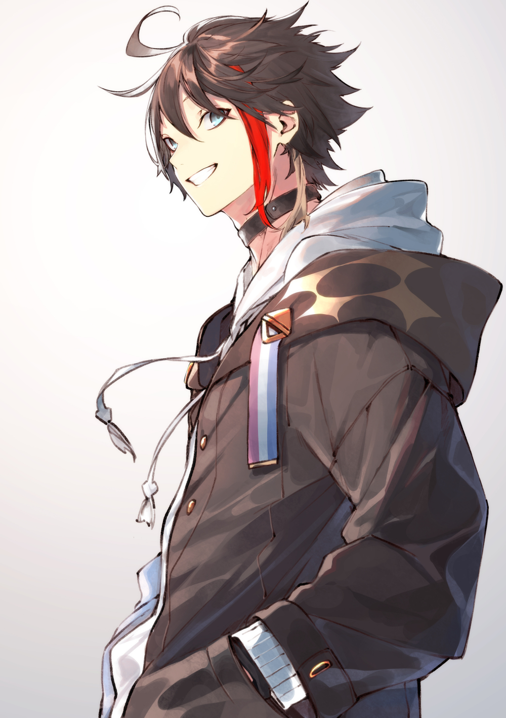 1boy ahoge bangs black_choker blue_eyes brown_hair brown_jacket choker commentary_request drawstring from_side gradient gradient_background grey_background grin hair_between_eyes hand_in_pocket highres hood hood_down hooded_jacket jacket kuwashima_rein long_sleeves looking_at_viewer looking_to_the_side male_focus multicolored_hair nijisanji saegusa_akina shiny shiny_hair smile solo standing streaked_hair white_background white_hoodie