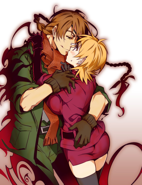 1boy 1girl bangs belt black_gloves black_legwear blonde_hair braid breast_press breasts brown_hair closed_mouth couple cropped_legs eye_contact eyebrows_visible_through_hair gloves green_pants green_shirt height_difference hellsing hug kayama_(fukayama) large_breasts looking_at_another low_twintails military military_uniform miniskirt pants pencil_skirt pip_bernardotte profile red_eyes red_shirt red_skirt scarf seras_victoria shirt short_hair simple_background skirt sleeves_rolled_up taut_clothes taut_shirt thigh-highs twintails uniform vampire zettai_ryouiki