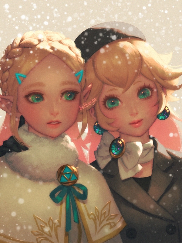 2girls aqua_eyes aqua_ribbon arm_around_neck artist_name bangs bellhenge beret black_coat black_gloves black_hat blonde_hair blush bow braid brooch capelet closed_mouth commentary crown_braid double-breasted earrings english_commentary forehead fur-trimmed_capelet fur_trim gem glint gloves green_eyes hair_ornament hairclip hat head_tilt jewelry long_hair looking_at_viewer looking_away looking_to_the_side mario_(series) multiple_girls multiple_sources nintendo parted_lips pointy_ears princess_peach princess_zelda ribbon scarf smile snowing super_mario_odyssey the_legend_of_zelda the_legend_of_zelda:_breath_of_the_wild trench_coat triforce upper_body white_bow white_capelet white_scarf winter