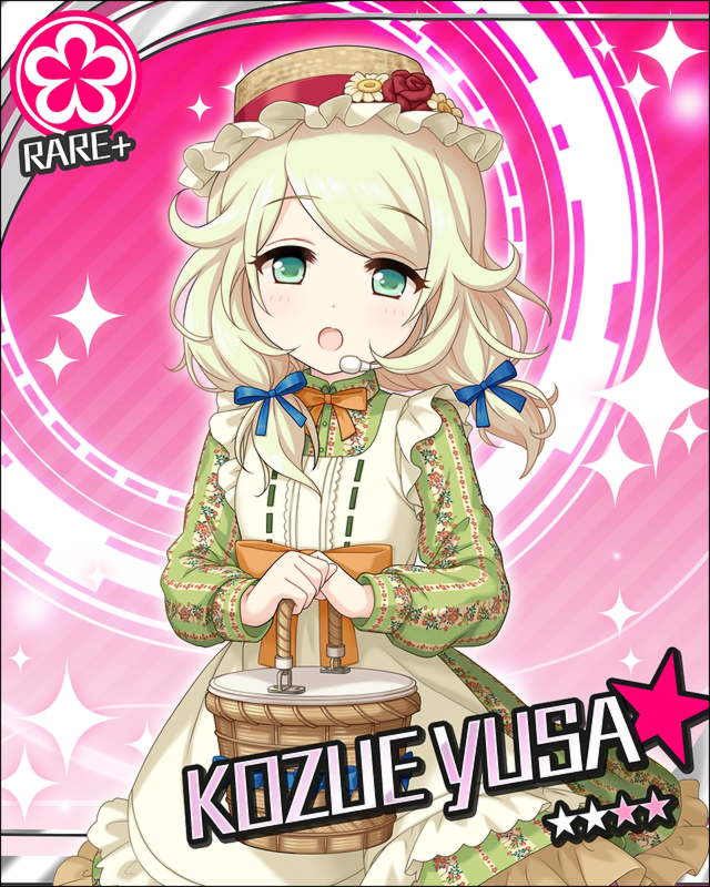 blonde_hair blush character_name dress green_eyes headdress idolmaster idolmaster_cinderella_girls kozue_yusa long_hair smile stars