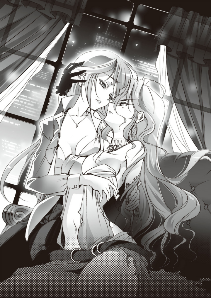 2girls bra breasts choco cleavage collarbone dress dress_shirt earrings eye_contact floating_hair gloves greyscale imminent_kiss indoors infinite_stratos jewelry long_hair long_sleeves looking_at_another medium_breasts mole mole_under_eye monochrome multiple_girls navel necklace night novel_illustration official_art open_clothes open_shirt parted_lips shirt torn_clothes torn_dress underwear very_long_hair window yuri