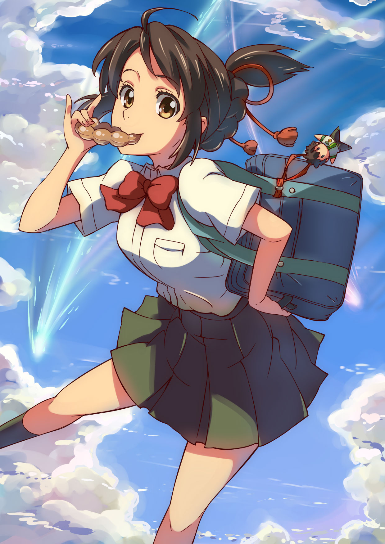 1girl ahoge bag black_hair blue_sky bow bowtie brown_eyes chiharu_(9654784) clouds comix_wave cute day dress_shirt eating highres kimi_no_na_wa looking_at_viewer miniskirt miyamizu_mitsuha pleated_skirt red_bow red_neckwear school_bag school_uniform shirt short_hair short_sleeves skirt sky solo tied_hair toho_corp. white_shirt