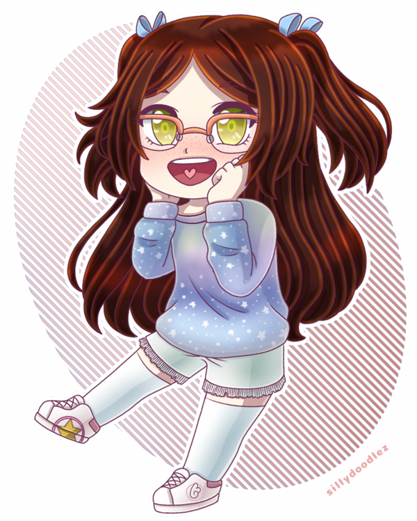 blush brown_hair cardcaptor_sakura chibi freckles galaxy_print glasses green_eyes hair_ribbons hands_on_own_face happy heart heart_in_mouth long_hair original shorts sillydoodlez sinamuna_(character) sneakers stars sweater thigh-highs twintails two_side_up