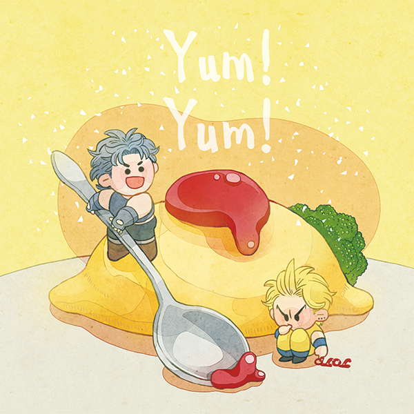 2boys blonde_hair blue_hair brown_footwear chibi dio_brando earrings english_text fingerless_gloves food full_body gloves jewelry jojo_no_kimyou_na_bouken jonathan_joestar ketchup knees_up momizi0510 multiple_boys no_nose omelet omurice oversized_food oversized_object phantom_blood sitting spoon standing