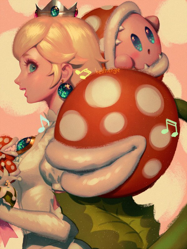 1girl bellhenge blonde_hair blue_eyes blush copy_ability crown dress gloves jewelry kirby kirby_(series) long_hair mario_(series) nintendo open_mouth piranha_plant princess_peach sharp_teeth simple_background smile spikes super_mario_bros. super_mario_odyssey super_smash_bros. super_smash_bros._ultimate teeth wedding_dress