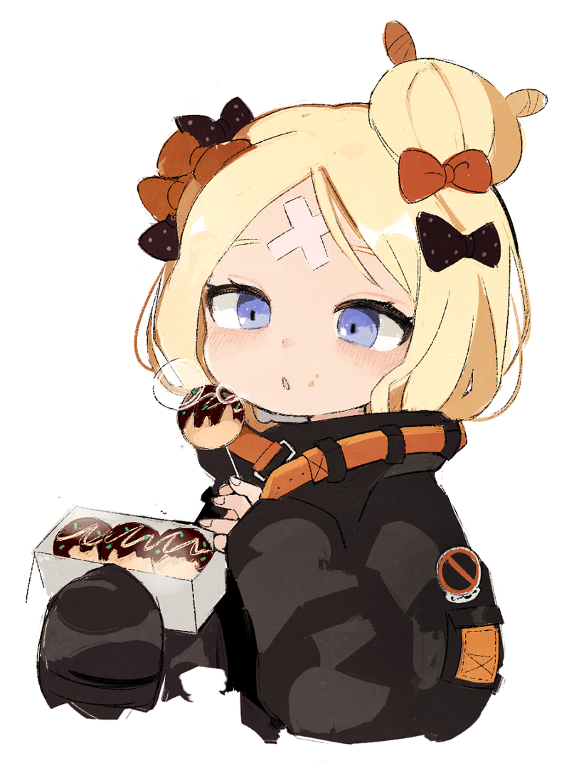 abigail_williams_(fate/grand_order) bandaid_on_forehead black_bow black_jacket blonde_hair blowing blowing_on_food blue_eyes blush bow commentary crossed_bandaids fate/grand_order fate_(series) food hair_bun heroic_spirit_traveling_outfit jacket long_sleeves multiple_hair_bows no_symbol open_mouth orange_bow polka_dot polka_dot_bow seu_9(banya) short_hair simple_background skewer sleeves_past_wrists takoyaki upper_body white_background