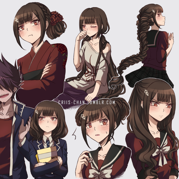 1boy 1girl :d :t alternate_costume alternate_hairstyle beard black_sailor_collar black_skirt blazer blue_jacket blush bow braid brown_hair collarbone criis-chan crossed_arms crown_braid danganronpa double_bun facial_hair grey_background grey_bow grey_neckwear hair_ornament harukawa_maki jacket japanese_clothes kimono long_hair looking_away miniskirt momota_kaito necktie new_danganronpa_v3 open_blazer open_clothes open_jacket open_mouth pleated_skirt purple_hair red_eyes red_kimono red_shirt sailor_collar shiny shiny_hair shirt short_sleeves simple_background skirt smile spiky_hair striped striped_neckwear sweatdrop tied_hair very_long_hair watermark web_address