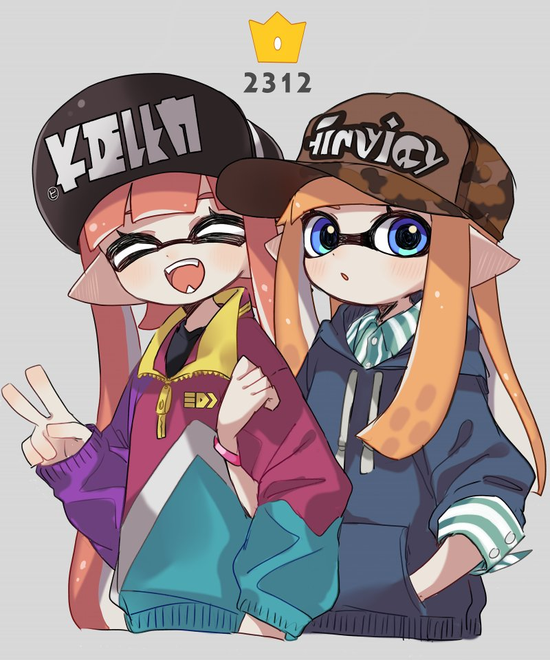 2girls :d :o ^_^ baseball_cap blue_eyes blue_hoodie blush bracelet brown_hat closed_eyes closed_eyes domino_mask drawstring ear_blush fangs hand_in_pocket hat hood hood_down hoodie inkling jewelry long_hair long_sleeves maco_spl mask multiple_girls open_mouth orange_hair pointy_ears sleeves_past_elbows sleeves_past_wrists smile splatoon splatoon_(series) splatoon_2 teeth tentacle_hair v zipper zipper_pull_tab