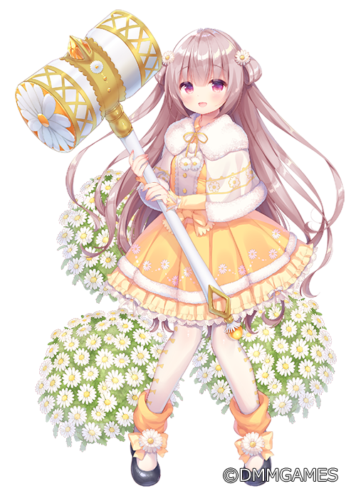 1girl :d bangs black_footwear blush brown_hair capelet commentary_request dress eyebrows_visible_through_hair flower flower_knight_girl frilled_dress frills full_body fur-trimmed_capelet fur_trim hair_flower hair_ornament holding holding_hammer long_hair long_sleeves north_pole_(flower_knight_girl) object_namesake official_art open_mouth pantyhose pleated_dress red_eyes shoes simple_background sleeves_past_wrists smile solo standing two_side_up usashiro_mani very_long_hair watermark white_background white_capelet white_flower white_legwear yellow_dress