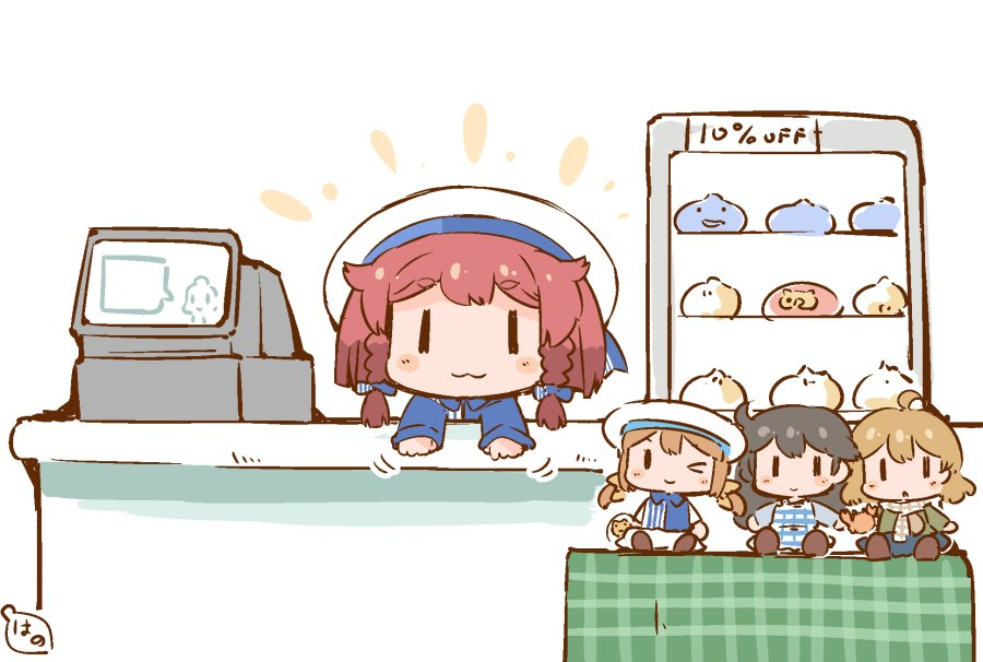1girl :3 baozi blonde_hair bob_cut braid cash_register character_doll commentary_request counter display_case dragon_quest error_musume etorofu_(kantai_collection) food hanomido hat japari_bun japari_symbol kantai_collection kemono_friends looking_at_viewer oboro_(kantai_collection) redhead sailor_hat side_braid simple_background slime_(dragon_quest) solo thick_eyebrows twin_braids ushio_(kantai_collection) white_background white_hat |_|