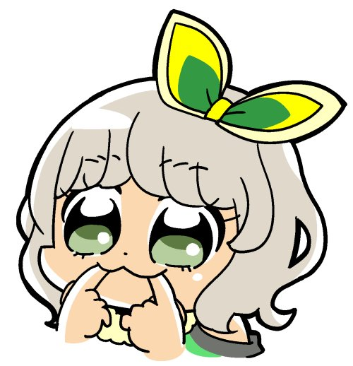1girl :3 bkub bow commentary_request dot_nose eyebrows_visible_through_hair eyelashes finger_in_mouth fur_trim green_bow green_eyes grey_hair hair_bow multicolored_bow portrait pripara short_hair simple_background solo taiyou_pepper white_background yellow_bow