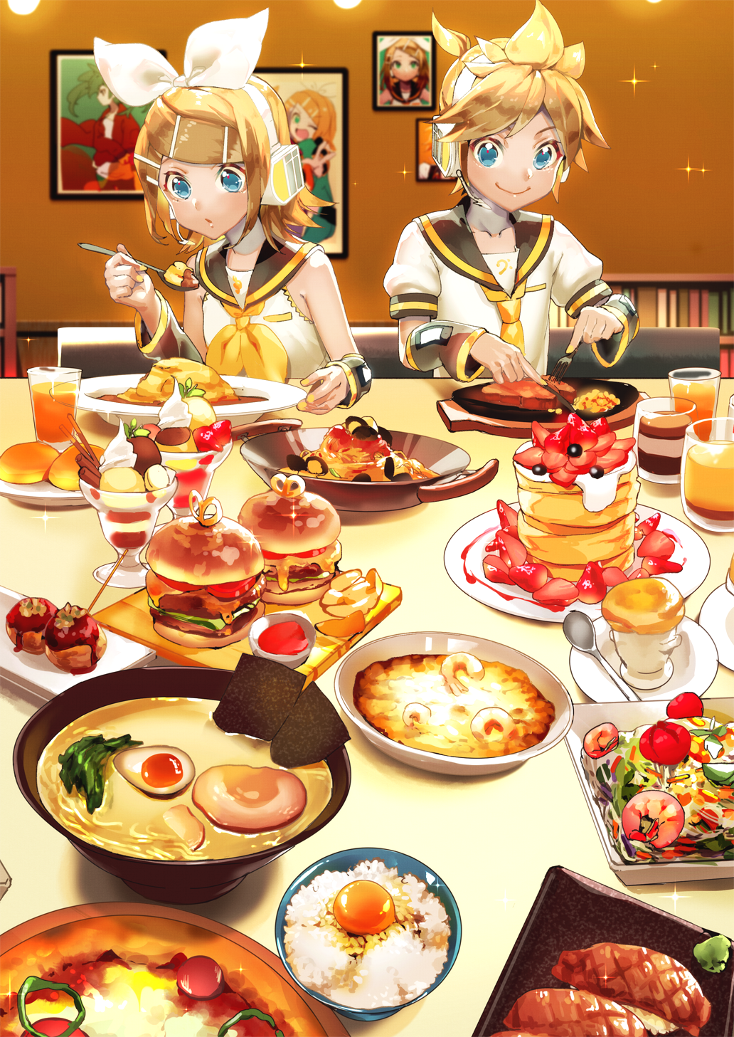 bangs bare_shoulders bass_clef blonde_hair blue_eyes bookshelf bow bowl cake clam commentary cream cup detached_sleeves drinking_glass eating egg egg_yolk food fork french_fries fruit green_hair hair_bow hair_ornament hairclip hamburger hatsune_miku headphones headset highres holding holding_fork holding_knife holding_spoon ice_cream kagamine_len kagamine_rin knife meat neck_ribbon necktie nigirizushi noodles nori_(seaweed) pasta photo_(object) plate pudding puffy_short_sleeves puffy_sleeves ramen ribbon rice sailor_collar saucer sawashi_(ur-sawasi) short_hair short_sleeves shrimp smile souffle_(food) soup spaghetti sparkle spiky_hair spoon steak strawberry suna_no_wakusei_(vocaloid) sundae sushi takoyaki tomato treble_clef vocaloid wafer_stick wasabi white_bow yellow_neckwear