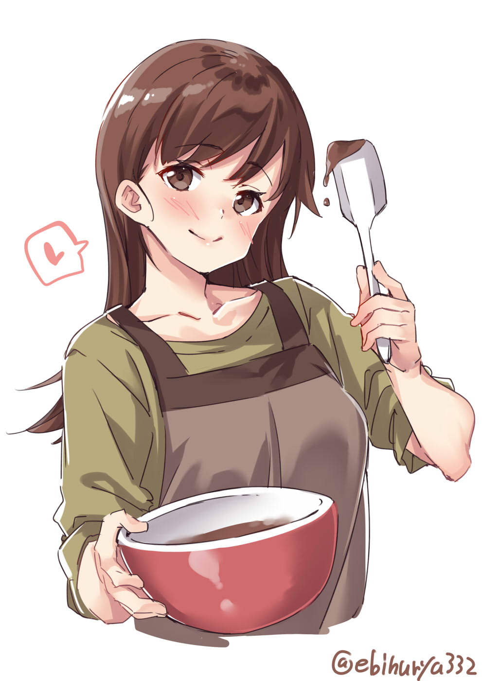 1girl apron blush bowl breasts brown_eyes brown_hair casual chocolate collarbone contemporary ebifurya green_shirt hair_between_eyes head_tilt heart highres kantai_collection large_breasts long_hair ooi_(kantai_collection) school_uniform serafuku shirt sleeves_rolled_up smile solo spoken_heart twitter_username upper_body white_background
