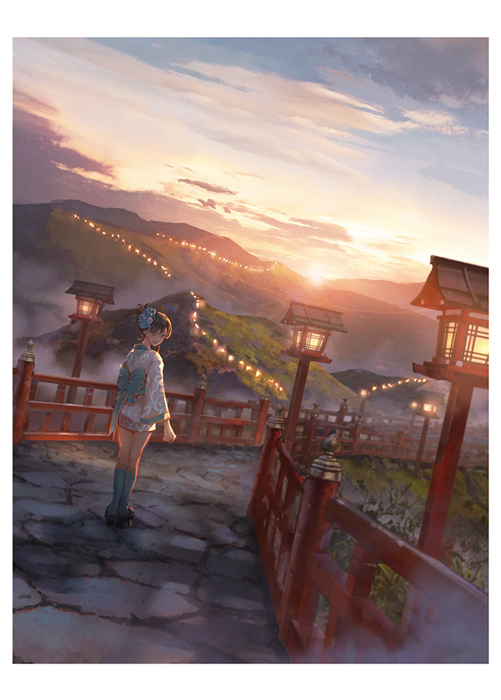 1girl black_footwear blue_bow blue_legwear bow brown_hair clouds day fence hair_bow huge_filesize japanese_clothes kneehighs lantern looking_at_viewer mountain original outdoors path plant road scenery sho_(shoichi-kokubun) smile solo standing sunrise