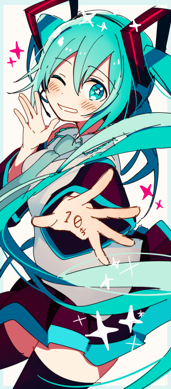 +_+ 1girl 4_(nakajima4423) ;) anniversary blue_border blue_hair blue_neckwear blush border detached_sleeves eyebrows_visible_through_hair floating_hair grey_shirt hatsune_miku head_tilt long_hair looking_at_viewer necktie number one_eye_closed outside_border outstretched_hand shirt simple_background skirt smile solo sparkle thigh-highs thighs very_long_hair vocaloid white_background