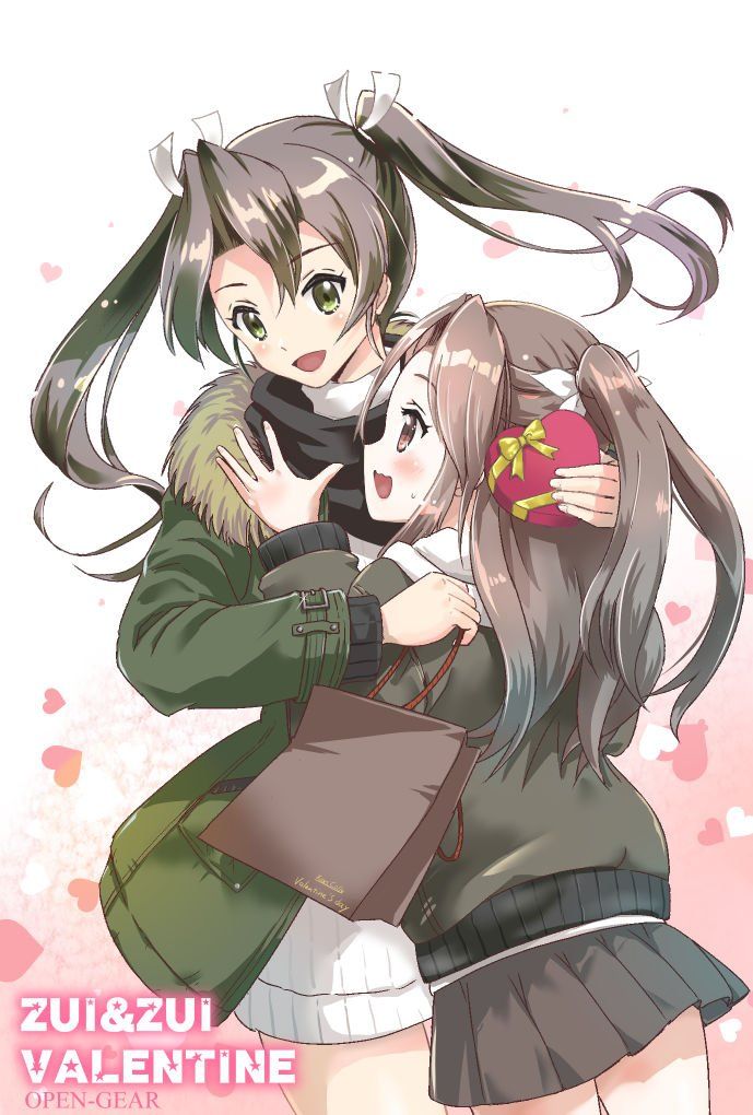2girls :d alternate_costume bag bangs black_scarf blush box brown_skirt coat commentary eyebrows_visible_through_hair fur-trimmed_coat fur_trim gift gift_wrapping green_coat green_eyes green_hair green_jacket hair_between_eyes hair_ribbon half_updo hand_on_another's_head heart heart-shaped_box heart_background holding holding_bag hood hooded_sweater hoodie hug jacket kantai_collection light_brown_hair long_hair long_sleeves miniskirt multiple_girls open_mouth opengear pleated_skirt ribbon scarf shopping_bag skirt smile sweat sweater twintails wavy_mouth white_ribbon white_sweater yellow_ribbon zuihou_(kantai_collection) zuikaku_(kantai_collection)