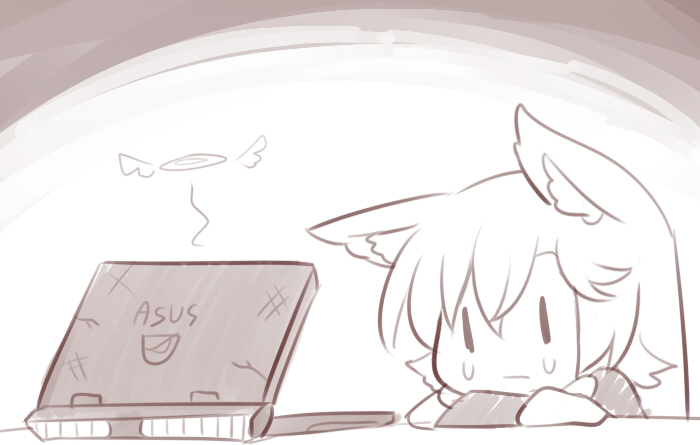 1girl animal_ear_fluff animal_ears asus bangs computer crying crying_with_eyes_open greyscale hair_between_eyes halo imaizumi_kagerou laptop long_hair long_sleeves monochrome portrait solo tears touhou wolf_ears wool_(miwol) |_|