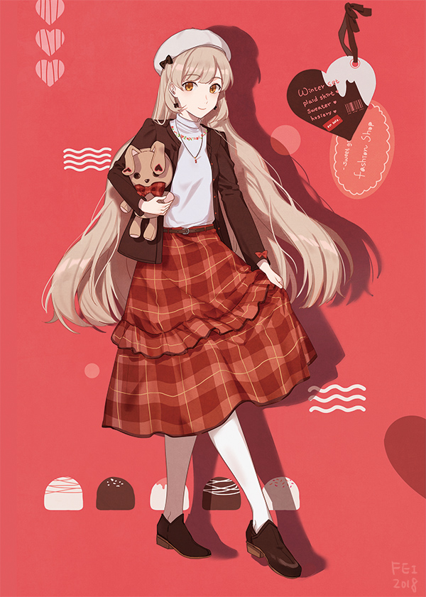 1girl 2018 alternate_costume artist_name belt beret black_ribbon blonde_hair brown_footwear brown_jacket candy chocolate dated earrings eyebrows_visible_through_hair fen_renlei floating_hair food full_body hat heart jacket jewelry long_hair looking_at_viewer mayu_(vocaloid) necklace pantyhose pink_background plaid plaid_skirt polka_dot polka_dot_background red_ribbon ribbon shadow shirt simple_background skirt smile solo standing striped striped_background stuffed_animal stuffed_bunny stuffed_toy sweater sweets tag turtleneck turtleneck_sweater usano_mimi vertical-striped_background vertical_stripes very_long_hair vocaloid white_shirt yellow_eyes