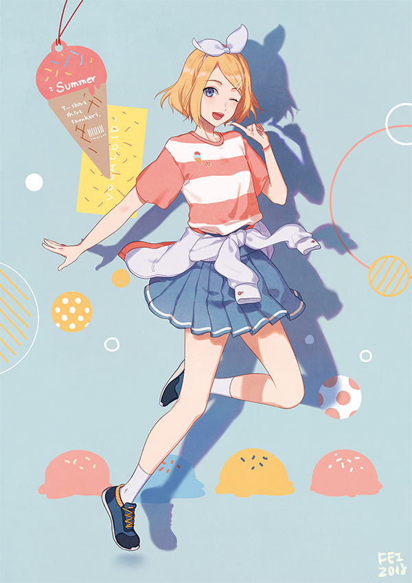 1girl 2018 ;d alternate_costume arm_at_side artist_name bare_legs blonde_hair blue_background blue_eyes blue_skirt bracelet candy clothes_around_waist dated eyebrows_visible_through_hair fen_renlei finger_to_cheek food full_body hair_ribbon horizontal_stripes ice_cream jacket jacket_around_waist jewelry jumping kagamine_rin leg_up looking_at_viewer one_eye_closed open_mouth pink_shirt polka_dot polka_dot_background ribbon shadow shirt shoes short_hair simple_background skirt smile sneakers socks solo striped striped_background sweets vocaloid white_jacket white_legwear white_ribbon