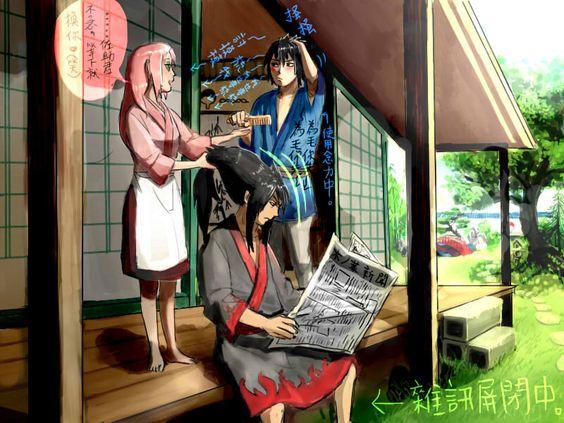 1girl 2boys black_hair female haruno_sakura male naruto pink_hair uchiha_madara uchiha_sasuke