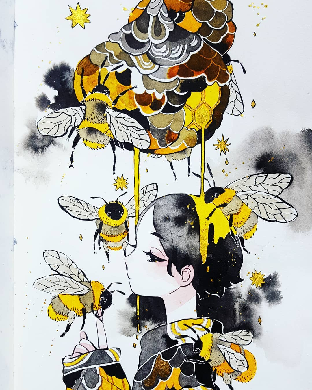 1girl bee beehive black_hair bug from_side half-closed_eyes highres honey honeycomb_(pattern) index_finger_raised insect long_sleeves maruti_bitamin original oversized_insect profile short_hair striped traditional_media upper_body watercolor_(medium) wings