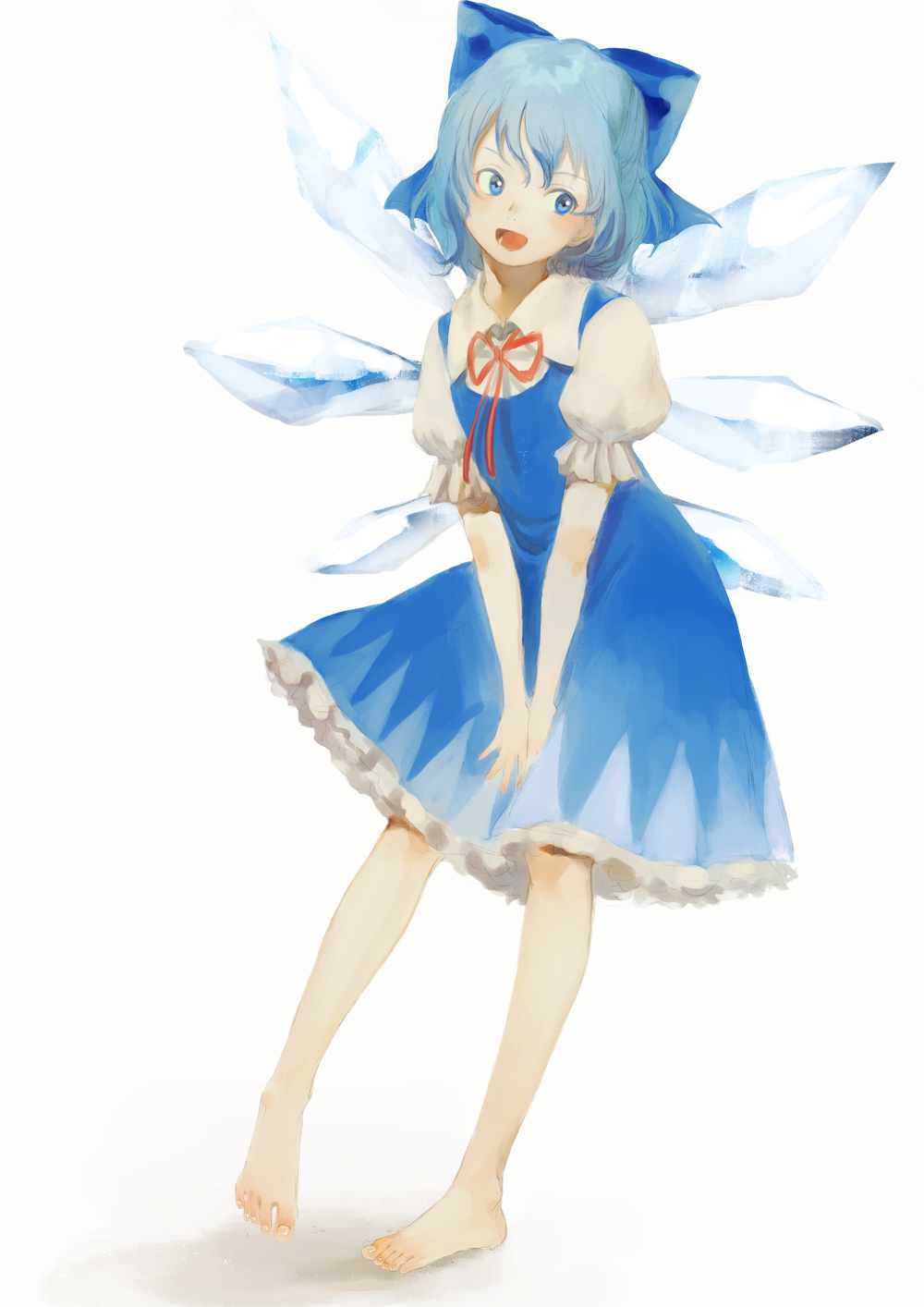 1girl bare_legs blue_bow blue_dress blue_eyes blue_hair blush bow cirno collared_shirt dress dress_tug frilled_dress frills full_body hair_between_eyes hair_bow highres ice ice_wings kagari_(kgr_000) leaning_to_the_side looking_to_the_side neck_ribbon open_mouth puffy_short_sleeves puffy_sleeves red_ribbon ribbon shiny shiny_hair shirt short_hair short_sleeves sidelocks simple_background solo standing standing_on_one_leg touhou white_background white_shirt wing_collar wings