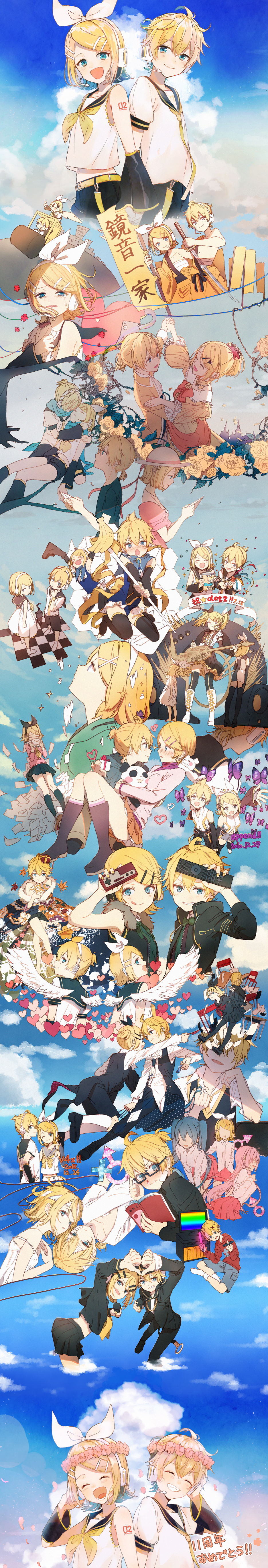 >_< 1boy 2010 2015 3girls :d :p absurdres aku_no_musume_(vocaloid) allen_avadonia angel angel_wings anger_vein angry animal autumn_leaves back-to-back banana bare_shoulders bass_clef belt blonde_hair blood blue_eyes blue_neckwear blue_scarf blue_sky blush boots box bug building bulldozer butterfly cable carrying cat cd chair checkered checkered_floor closed_eyes clouds cloudy_sky commentary_request confetti controller crossed_arms crown crying crying_with_eyes_open dancing dappou_rock_(vocaloid) dated day desk detached_sleeves dress dvd electric_angel_(vocaloid) embarrassed evillious_nendaiki eye_contact eyebrows_visible_through_hair facing_away fighting floating floating_hair flower food fork formal from_above fruit full_body gift gift_box glasses glowstick grin guitar hair_ribbon hands_on_own_chest hands_together happy hat hatsune_miku head_tilt head_wreath headset heart height_difference high_heel_boots high_heels highres holding holding_gift holding_instrument holding_sign holding_staff hood hoodie huge_filesize idola_no_circus_(vocaloid) index_finger_raised insect instrument interlocked_fingers jam_(zamuchi) japanese_clothes jumping kagamine_len kagamine_len_(append) kagamine_len_(vocaloid4) kagamine_rin kagamine_rin_(append) kagamine_rin_(vocaloid4) knife kokoro_(vocaloid) leaf legs_crossed letter long_image looking_at_another looking_at_viewer looking_away looking_back looking_down looking_up lost_one_no_goukoku_(vocaloid) mars_symbol megurine_luka microphone migikata_no_chou_(vocaloid) multiple_girls multiple_persona musical_note necktie no_eyes nosebleed notebook okochama_sensou_(vocaloid) open_mouth ore_no_road_roller_da!_(vocaloid) outdoors outstretched_arms palace paper_airplane party_popper petals pink_flower plus_danshi_(vocaloid) plus_sign pointing polka_dot profile puffy_short_sleeves puffy_sleeves purple_butterfly remote_control ribbon riding riliane_lucifen_d'autriche rimocon_(vocaloid) rose roshin_yuukai_(vocaloid) sad sailor_collar scarf school_d