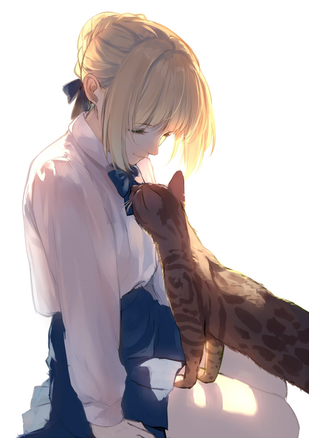 1girl animal arm_at_side arm_support artoria_pendragon_(all) backlighting bangs blonde_hair blouse blue_neckwear blue_ribbon blue_skirt bow bowtie braid brown_cat caidychen cat closed_mouth collared_blouse commentary english_commentary eyelashes fate/stay_night fate_(series) french_braid hair_bun hair_intakes hair_ribbon high-waist_skirt highres long_sleeves looking_down looking_up medium_skirt no_legwear pleated_skirt ribbon saber shiny shiny_hair sidelocks simple_background sitting skirt smile white_background white_blouse yokozuwari