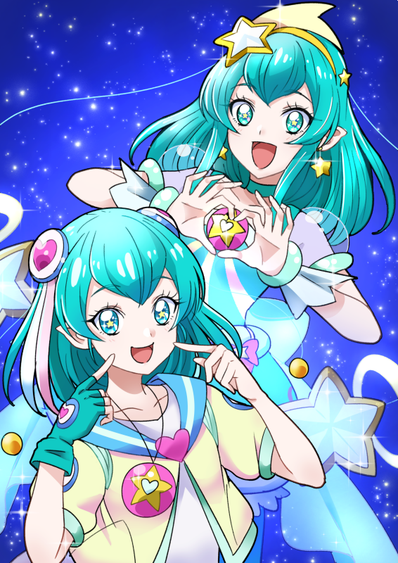 2girls :d blue blue_background blue_eyes blue_gloves blue_hair blue_neckwear choker cure_milky dual_persona earrings gloves hagoromo_lala hair_ornament hairband hairpods heart heart_hands jacket jewelry looking_at_viewer magical_girl multiple_girls necklace open_mouth pointy_ears precure puffy_sleeves see-through_sleeves short_hair single_glove smile star star_earrings star_hair_ornament star_in_eye star_twinkle_precure symbol_in_eye tsukikage_oyama yellow_hairband