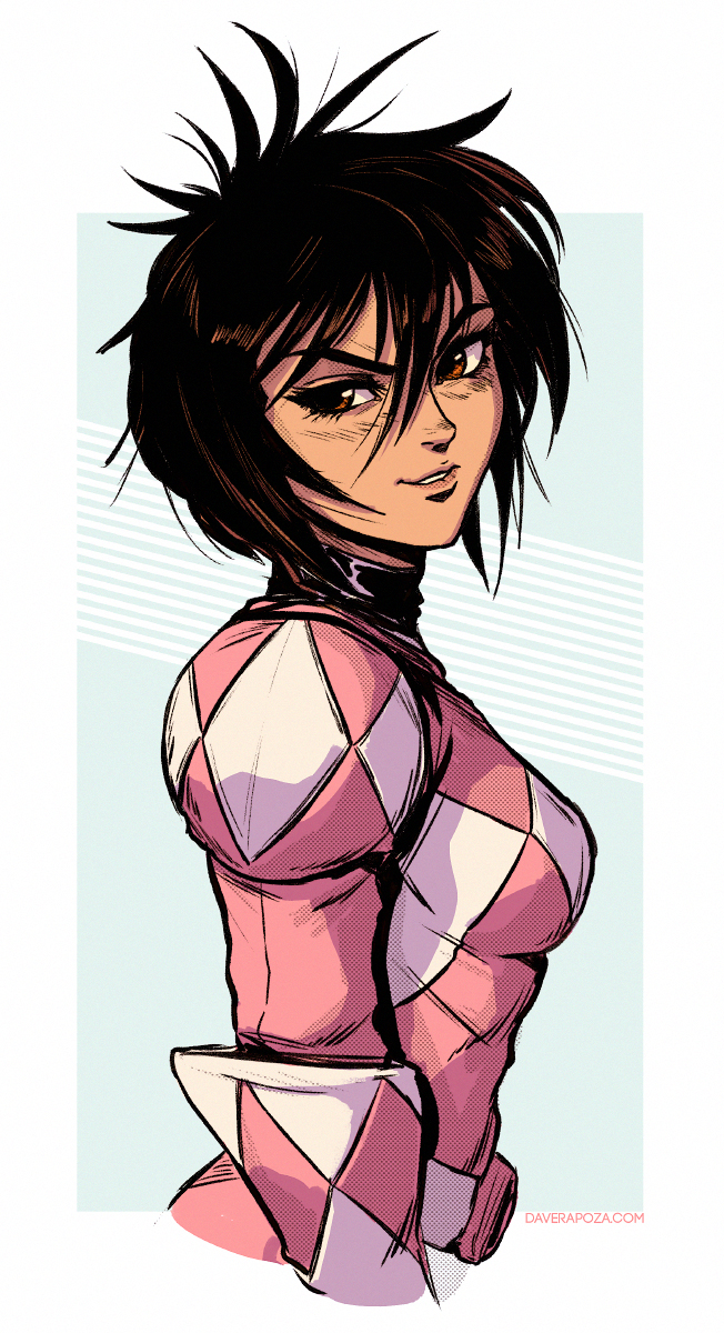 >:) 1girl black_hair breasts brown_eyes dave_rapoza from_side hair_between_eyes highres kimberly_ann_hart medium_breasts mighty_morphin_power_rangers pink_ranger power_rangers short_hair smile solo spiky_hair upper_body watermark web_address