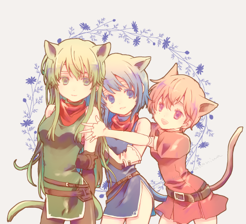 3girls animal_ears arms_behind_back belt blue_eyes blue_hair cat_ears cat_tail closed_mouth dress elbow_gloves est fake_animal_ears fake_tail fingerless_gloves fire_emblem fire_emblem:_monshou_no_nazo gloves green_eyes green_hair headband katua long_hair lowres multiple_girls nintendo open_mouth paola parted_lips pink_eyes pink_hair short_dress short_hair short_sleeves siblings side_slit sisters sleeveless tail waka_ashakoniwa white_headband
