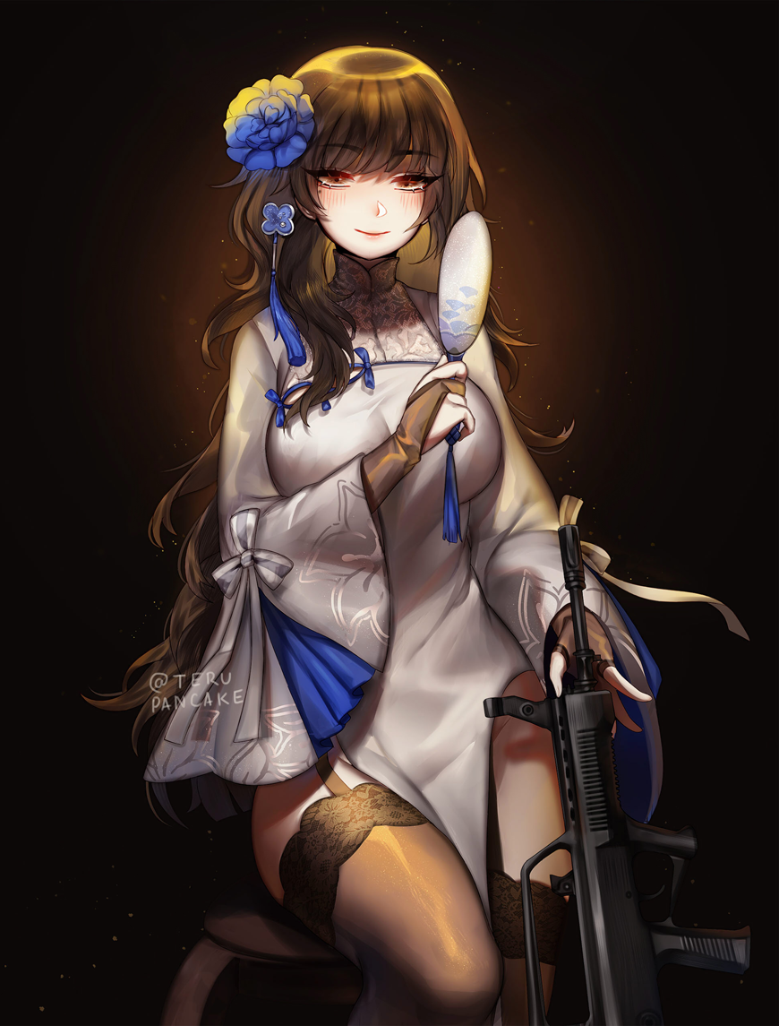 1girl alternate_costume alternate_hairstyle assault_rifle bangs black_gloves black_hair black_legwear blue_flower blush breasts bridal_gauntlets bullpup china_dress chinese_clothes commentary cowboy_shot dark_background dress english_commentary eyebrows_visible_through_hair fan flower full_body garter_straps girls_frontline gloves gun hair_flower hair_ornament hairband holding holding_fan large_breasts long_hair long_sleeves looking_at_viewer paper_fan pelvic_curtain qbz-95 qbz-95_(girls_frontline) ribbon rifle single_sidelock sitting smile solo terupancake thigh-highs twitter_username uchiwa very_long_hair wavy_hair weapon white_dress white_ribbon white_sleeves wide_sleeves yellow_eyes