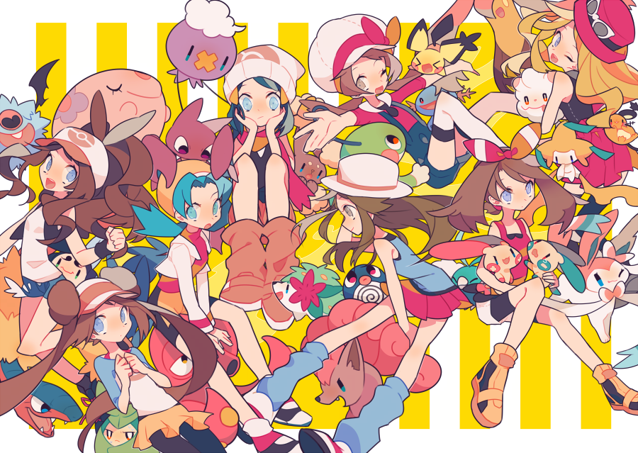 6+girls archeops auko barrette baseball_cap beanie blue_(pokemon) blue_eyes blue_hair boots brown_eyes brown_hair buneary clenched_hands commentary creatures_(company) crystal_(pokemon) dedenne double_bun drifloon game_freak gen_1_pokemon gen_2_pokemon gen_3_pokemon gen_4_pokemon gen_5_pokemon gen_6_pokemon gligar gourgeist hands_on_own_cheeks hands_on_own_face haruka_(pokemon) hat hikari_(pokemon) jirachi kotone_(pokemon) long_hair mei_(pokemon) minun multiple_girls munna nintendo octillery one_eye_closed open_mouth outstretched_arms overalls pichu pink_footwear pink_scarf plusle pokemon pokemon_(creature) pokemon_(game) pokemon_on_head politoed poliwag red_skirt scarf serena_(pokemon) shaymin shorts sitting skirt smile spread_arms striped striped_background swablu swadloon swirlix sylveon symbol_commentary thigh-highs touko_(pokemon) twintails tympole vertical-striped_background vertical_stripes vulpix white_hat woobat wooper