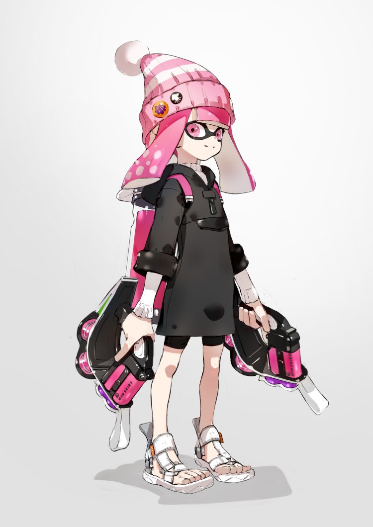 1girl bad_id bangs bike_shorts black_coat black_shorts blunt_bangs bobblehat closed_mouth commentary domino_mask dual_wielding full_body grey_background hat holding holding_weapon hooded_coat ink_tank_(splatoon) inkling long_sleeves looking_at_viewer mask neco pink_eyes pink_hair pink_hat pointy_ears sandals shadow shorts simple_background smile solo splatoon splatoon_(series) splatoon_2 standing sweater tentacle_hair tetra_dualies_(splatoon) weapon white_footwear white_sweater