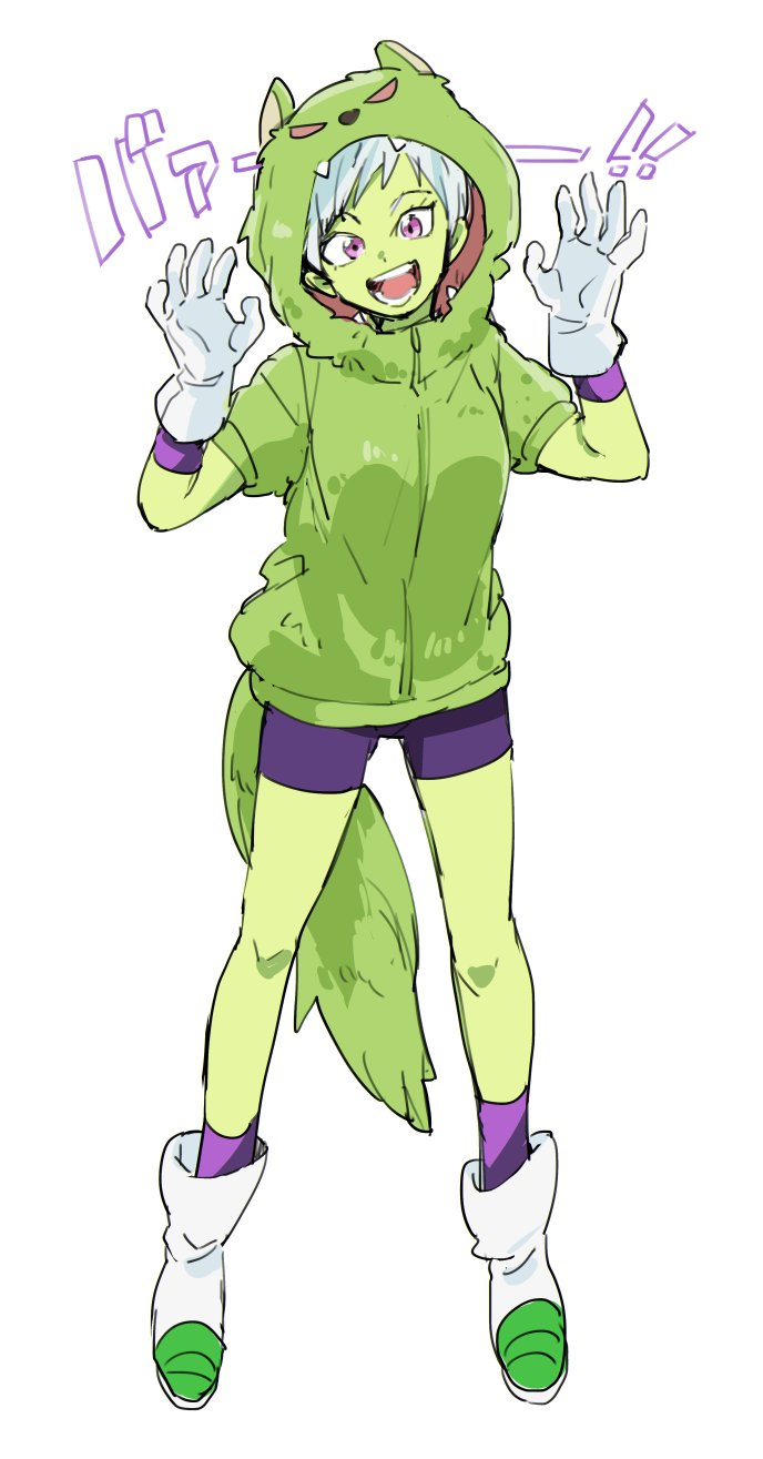1girl :d bah_(dragon_ball) bah_(dragon_ball)_(cosplay) bare_legs bidarian boots cheelai cosplay dragon_ball dragon_ball_super_broly full_body gloves green_jacket highres hood hood_up hooded_jacket jacket looking_at_viewer open_mouth purple_shorts short_hair shorts simple_background smile solo spread_legs standing tail teeth translation_request violet_eyes white_background white_gloves white_hair