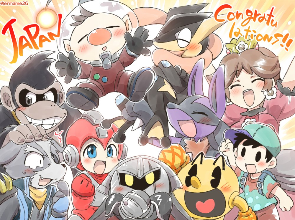 1girl 3boys 6others android animal ape bandai baseball_cap black_hair blush brown_hair capcom creatures_(company) crown donkey_kong donkey_kong_(series) dress earrings eromame flipped_hair flower_earrings galaxia_(sword) game_freak gen_4_pokemon gen_6_pokemon greninja hal_laboratory_inc. hat hoshi_no_kirby jewelry kirby_(series) long_hair looking_at_viewer lucario mario_(series) mask meta_knight mother_(game) mother_2 multiple_boys multiple_girls namco ness nintendo olimar open_mouth pac-man pac-man_(game) pikmin_(series) pokemon pokemon_(creature) pokemon_(game) pokemon_xy princess_daisy red_eyes rockman rockman_(character) rockman_(classic) scarf short_hair simple_background smile sora_(company) star_fox super_mario_bros. super_smash_bros. super_smash_bros._ultimate tongue tongue_out wolf_o'donnell yellow_dress