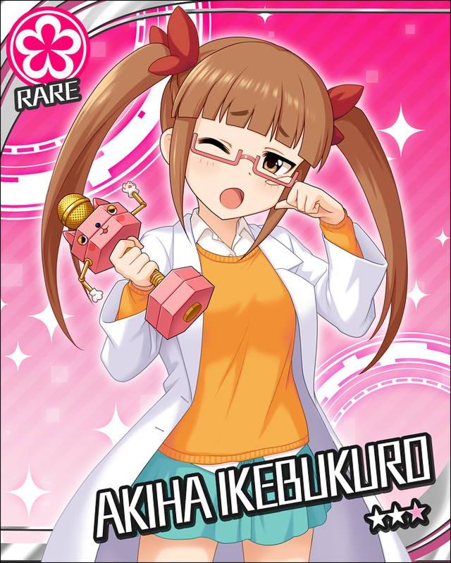 blush brown_hair character_name dress glasses idolmaster idolmaster_cinderella_girls ikebukuro_akiha long_hair red_eyes stars twintails wink
